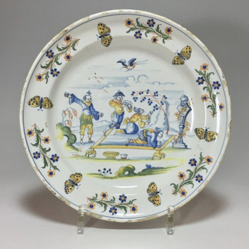 Marseille Leroy - Rare plate with Chinese scène - Eighteenth century -