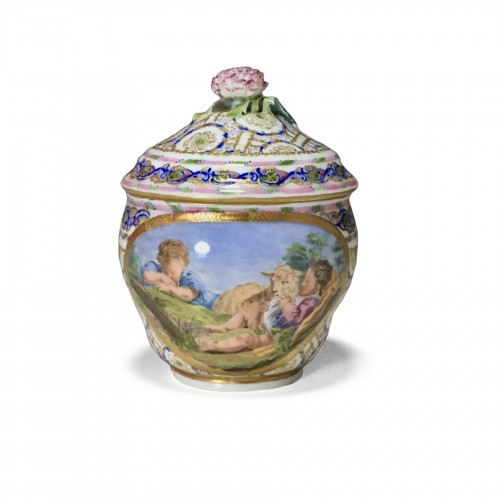 Hébert sugar pot in soft Sèvres porcelain from the eighteenth century