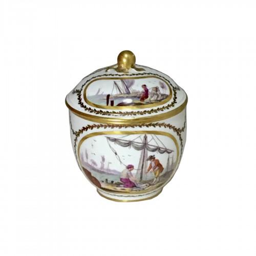 18th century Sèvres Sugar pot with port scene decoration