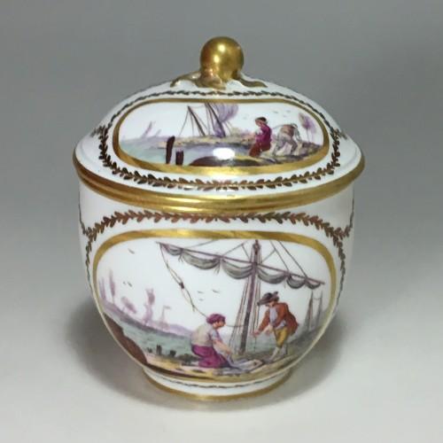 Porcelain & Faience  - 18th century Sèvres Sugar pot with port scene decoration