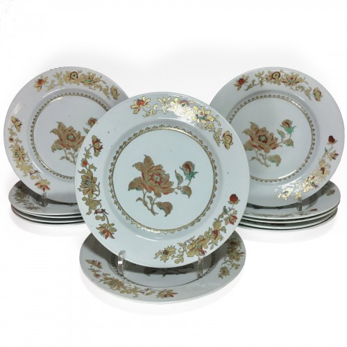 China - Suite of twelve plates - Qianlong Period