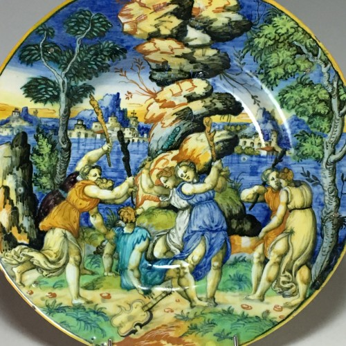 "Urbino majolica dish ""Orpheus and the Bacchae"" School of Xanto - circa 1540 - Porcelain & Faience Style Renaissance"