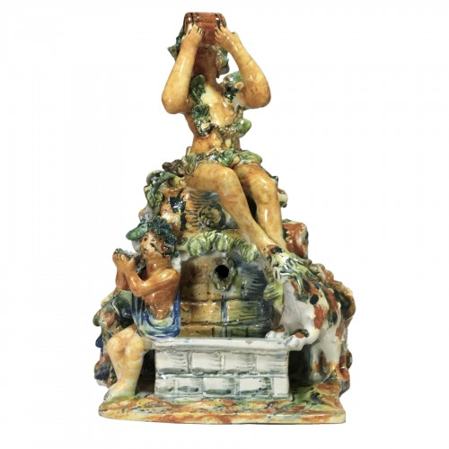 Fountain depicting Bacchus in majolica from Urbino, Patanazzi workshop circ