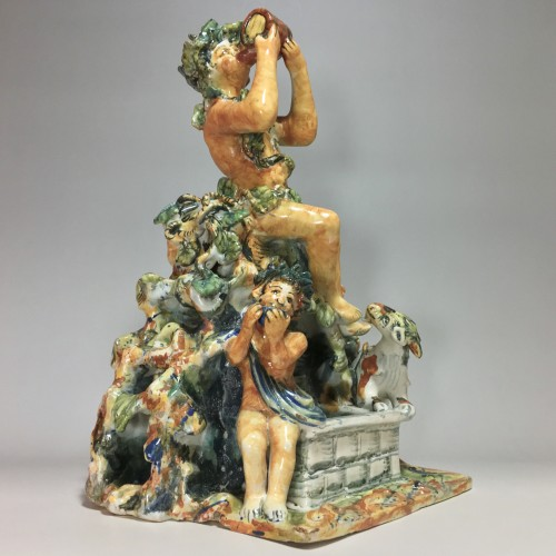 Fountain depicting Bacchus in majolica from Urbino, Patanazzi workshop circ - Porcelain & Faience Style Renaissance
