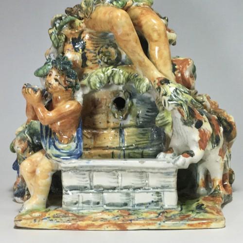 Fountain depicting Bacchus in majolica from Urbino, Patanazzi workshop circ -