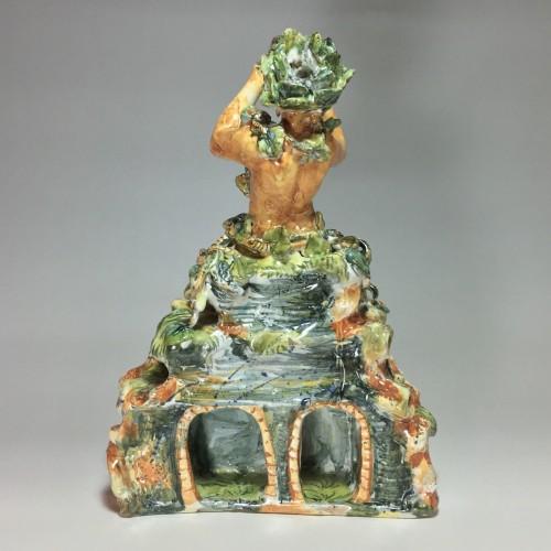 <= 16th century - Fountain depicting Bacchus in majolica from Urbino, Patanazzi workshop circ