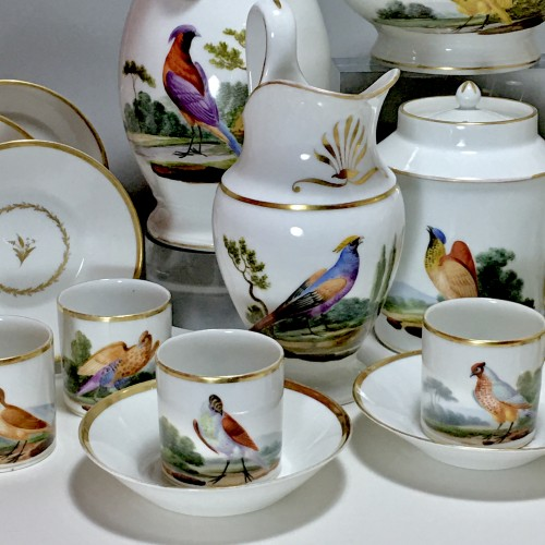 Tea and Coffee Service with Bird Decor - Paris, Empire Period - Porcelain & Faience Style Empire