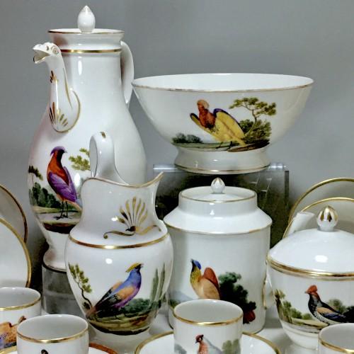 Porcelain & Faience  - Tea and Coffee Service with Bird Decor - Paris, Empire Period