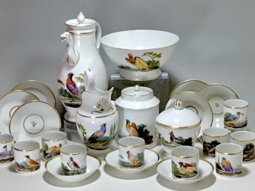 Antiquités - Tea and Coffee Service with Bird Decor - Paris, Empire Period