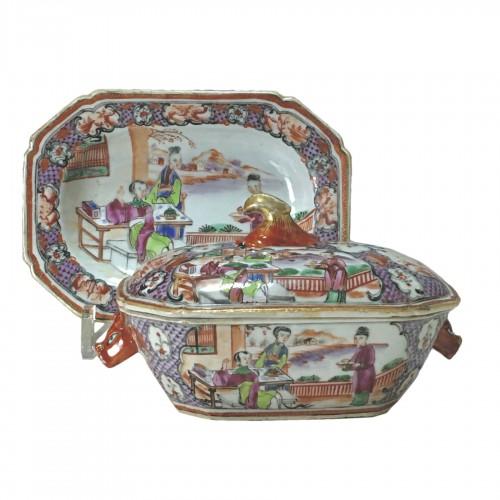 China - India Company - Small terrine and its display unit - Qianlong perio