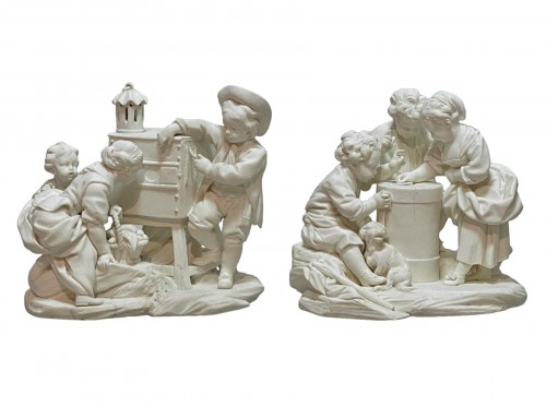 Pair groups in Sèvres soft porcelain biscuit - eighteenth century