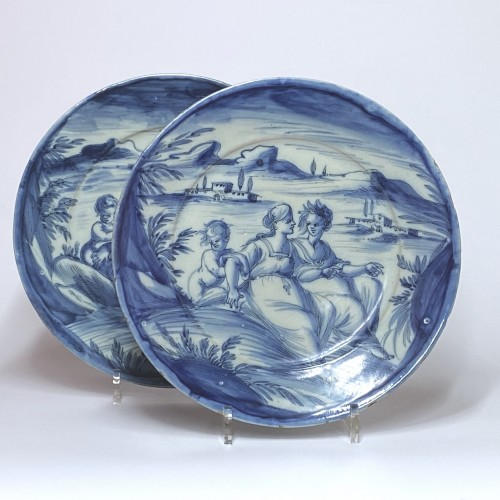 Pair of dishes in blue monochrome - Savona Around 1700 - Porcelain & Faience Style Louis XIV