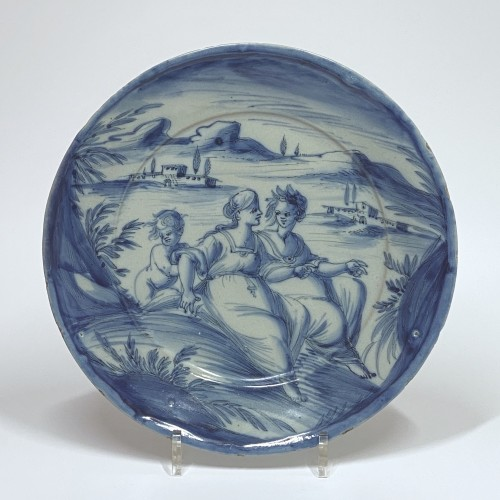 Porcelain & Faience  - Pair of dishes in blue monochrome - Savona Around 1700