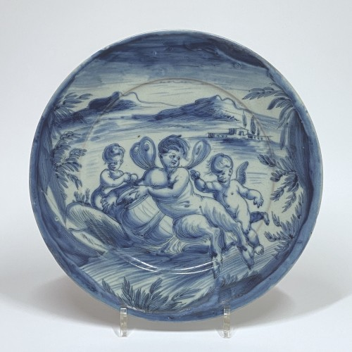 Pair of dishes in blue monochrome - Savona Around 1700 -