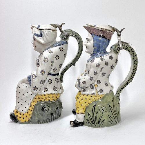 "Porcelain & Faience  - Lille - Pair of ""Jacquot et Jacqueline"" pitchers - Eighteenth century"