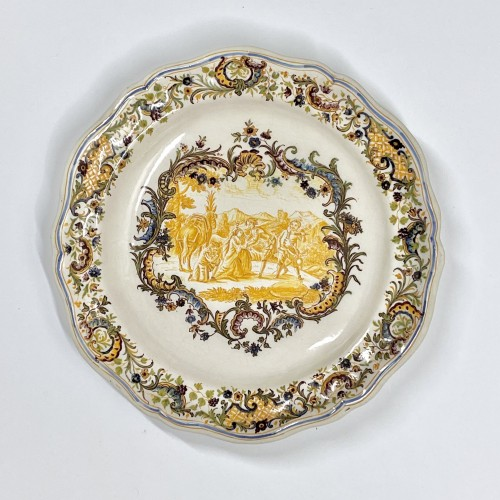 air Pair of Marseille earthenware dishes with scenes from the life of Don Quixote - Porcelain & Faience Style Louis XV