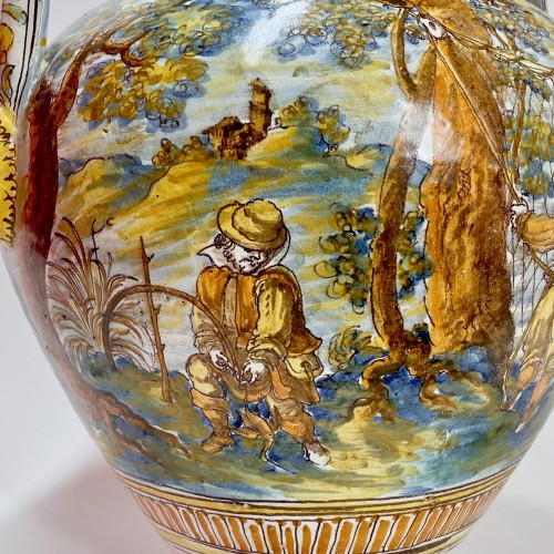 Talavera de la Reina 1680-1700  - Jar decorated with bird hunting scene - Louis XIV