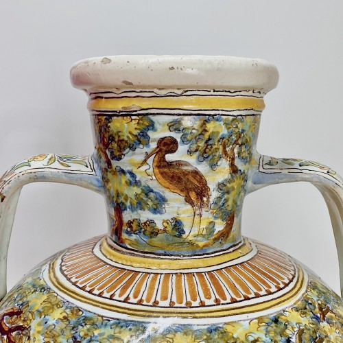 Antiquités - Talavera de la Reina 1680-1700  - Jar decorated with bird hunting scene
