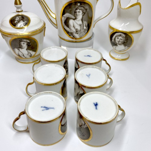 Antiquités - Coffee service with grisaille decoration - Paris - circa 1800