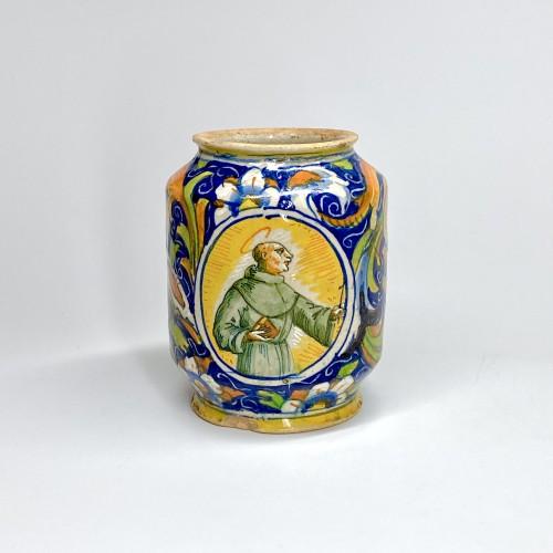 Porcelain & Faience  - Albarello in Venetian majolica - Maestro Domenico - Sixteenth century