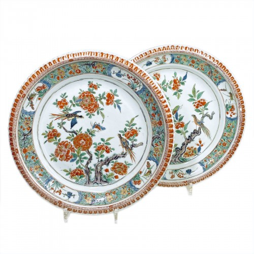 China - Pair of famille verte dishes - Kangxi period (1662-1722)