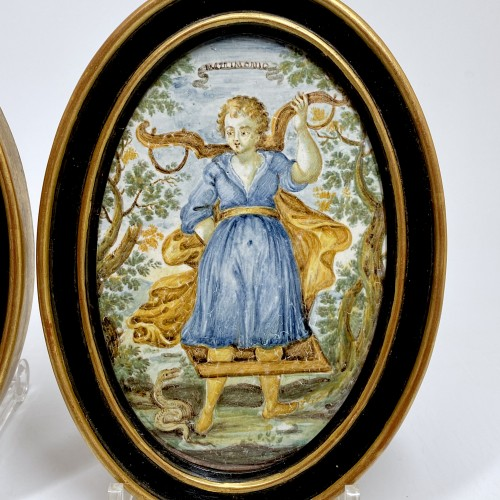 """Porcelain & Faience  - Pair of Castelli plaques """"Marriage and Servitude"""" - Eighteenth century"""