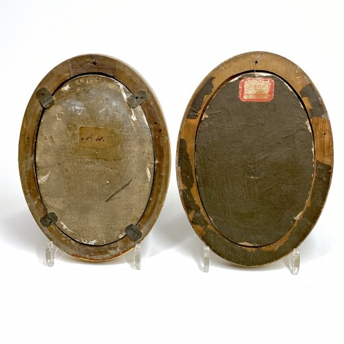 """18th century - Pair of Castelli plaques """"Marriage and Servitude"""" - Eighteenth century"""