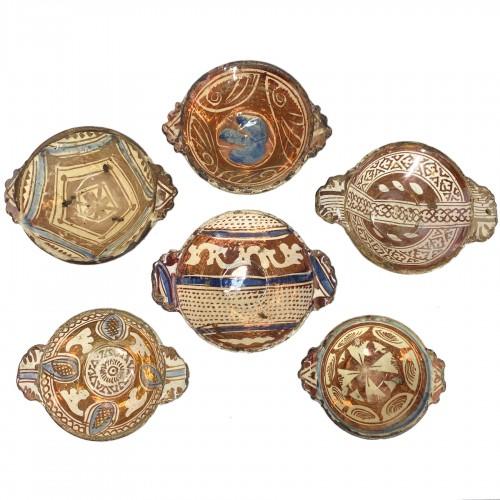 Six Hispano-Moorish ceramic bowls - Sixteenth century