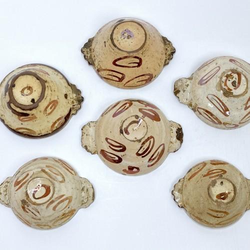 Antiquités - Six Hispano-Moorish ceramic bowls - Sixteenth century