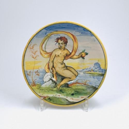 Small tondino in Venetian majolica - sixteenth century -