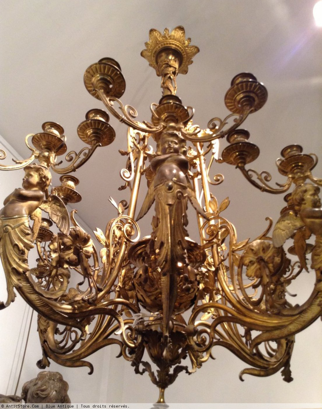 Lustre napol on iii en bronze dor 24 feux xixe si cle - Lustre ancien le bon coin ...