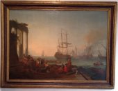 "Adrien manglard (1695 - 1760) ""a mediterrean port with figures"""