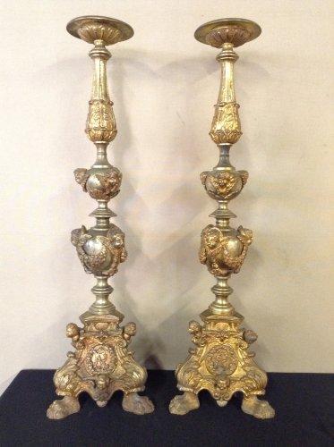 Pair of 19th century gilt bronze pricket sticks - Religious Antiques Style Napoléon III