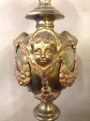 19th century - Pair of 19th century gilt bronze pricket sticks