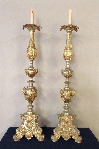 Pair of ormolu pricket sticks, 19th century