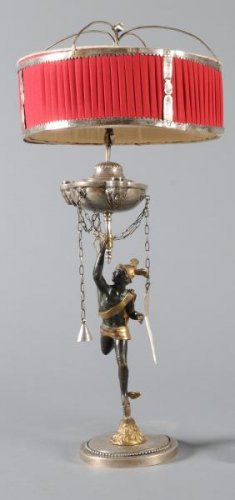 Oil lamp in silver and bronze nineteenth century