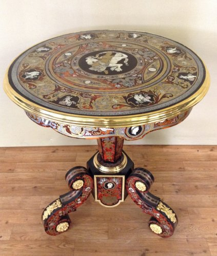 Furniture  - Boulle style marquetry pedestal table, late 19th century