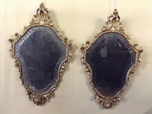 Pair of Louis XV style giltwood mirrors - Mirrors, Trumeau Style