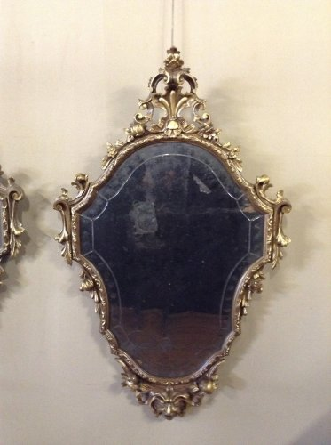 Pair of Louis XV style giltwood mirrors -