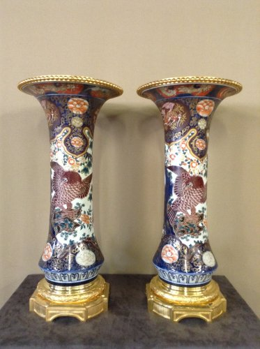 Large pair of 19th century bronze mounted Imari vases
