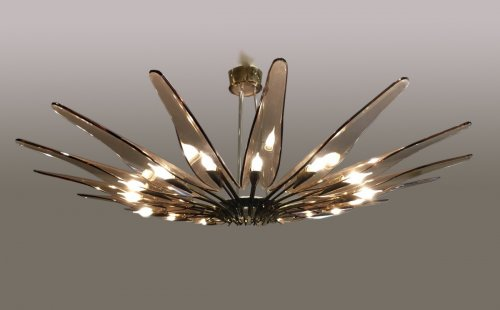 Rare Blue Dahlia Chandelier by Max Ingrand