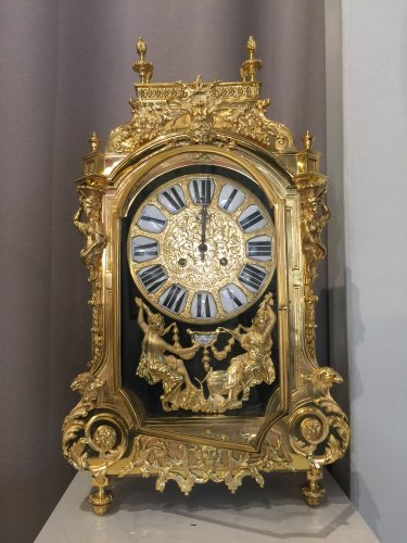 Large 19th century gilt bronze clock by Lerolle Brothers Paris - Clocks Style