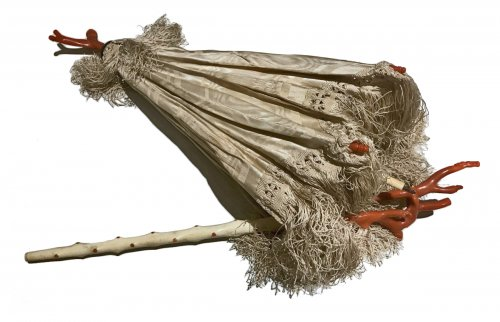 Folding umbrella decorated with coral, circa 1860