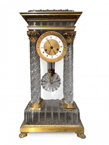 Large crystal and bronze clock, early 19th century