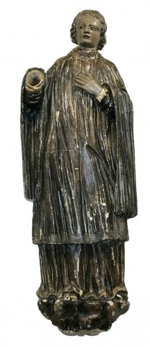 Saint Deacon, polychromed wooden sculpture,  France 18th siècle