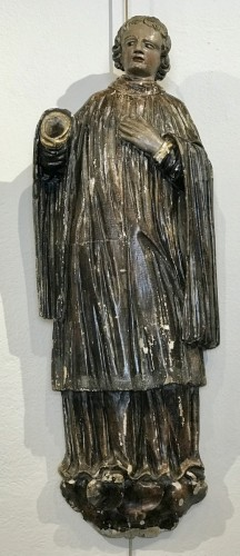 Antiquités - Saint Deacon, polychromed wooden sculpture,  France 18th siècle
