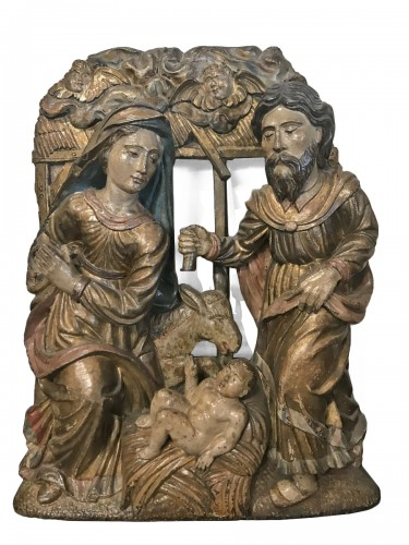 "High relief wooden panel ""Scene of the Nativity"" 16th century"