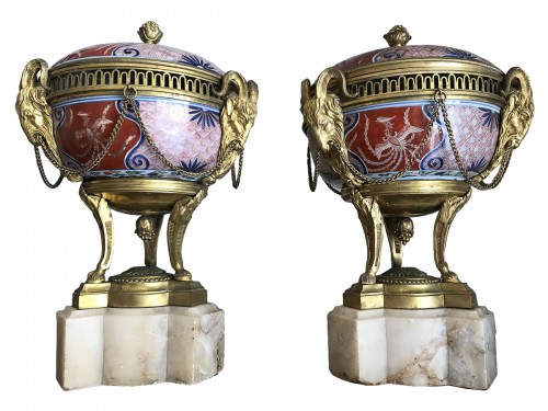Pair of bronze mount imari porcelain Pots-Pourri vases