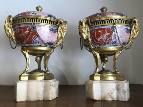 Pair of bronze mount imari porcelain Pots-Pourri vases -