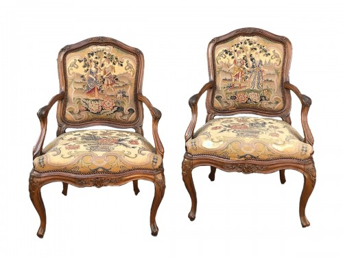 Pair of Louis XV back armchairs